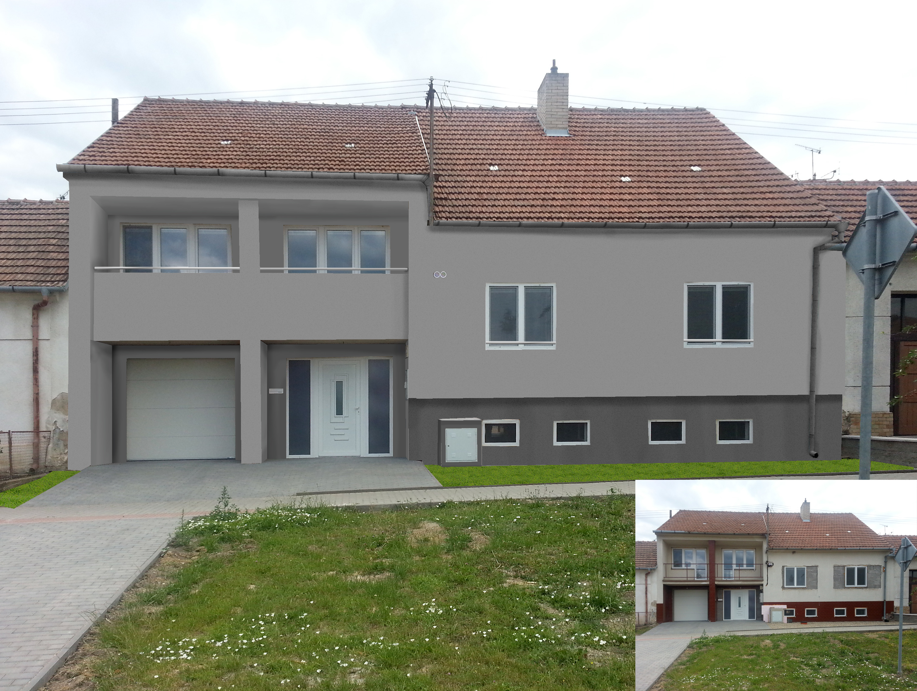 Vizualizace návrhu fasády na rodinném domě