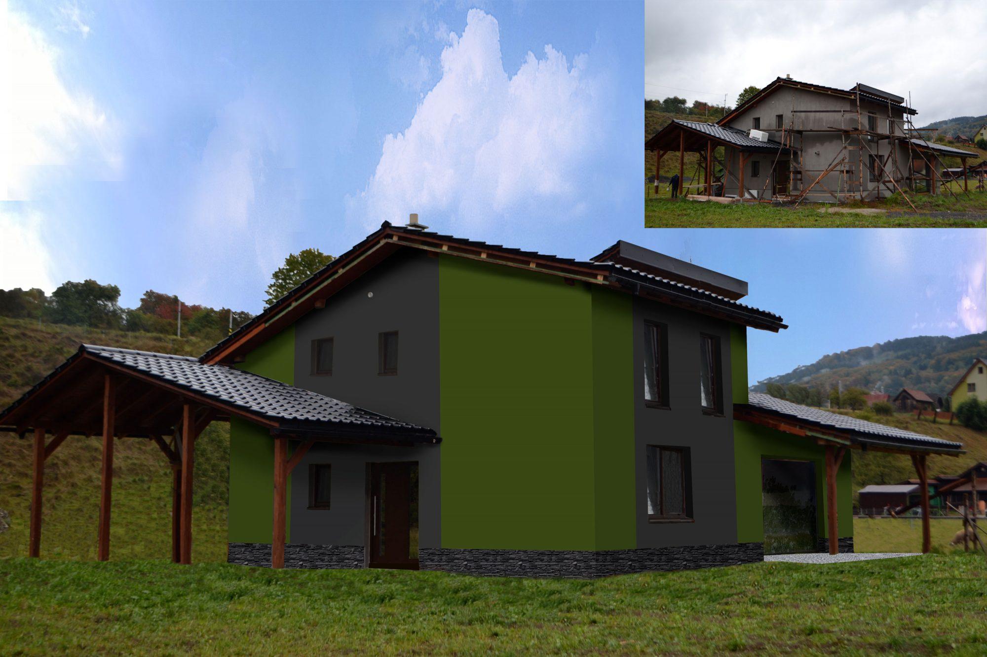 Barevný návrh fasády na rodinném domě