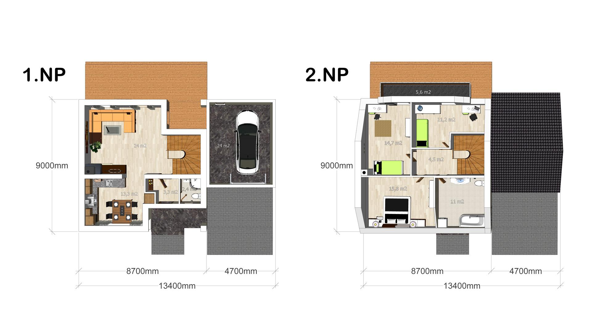 Vizualizace rodinných domů pro developerský projekt Půdorysné pohledy