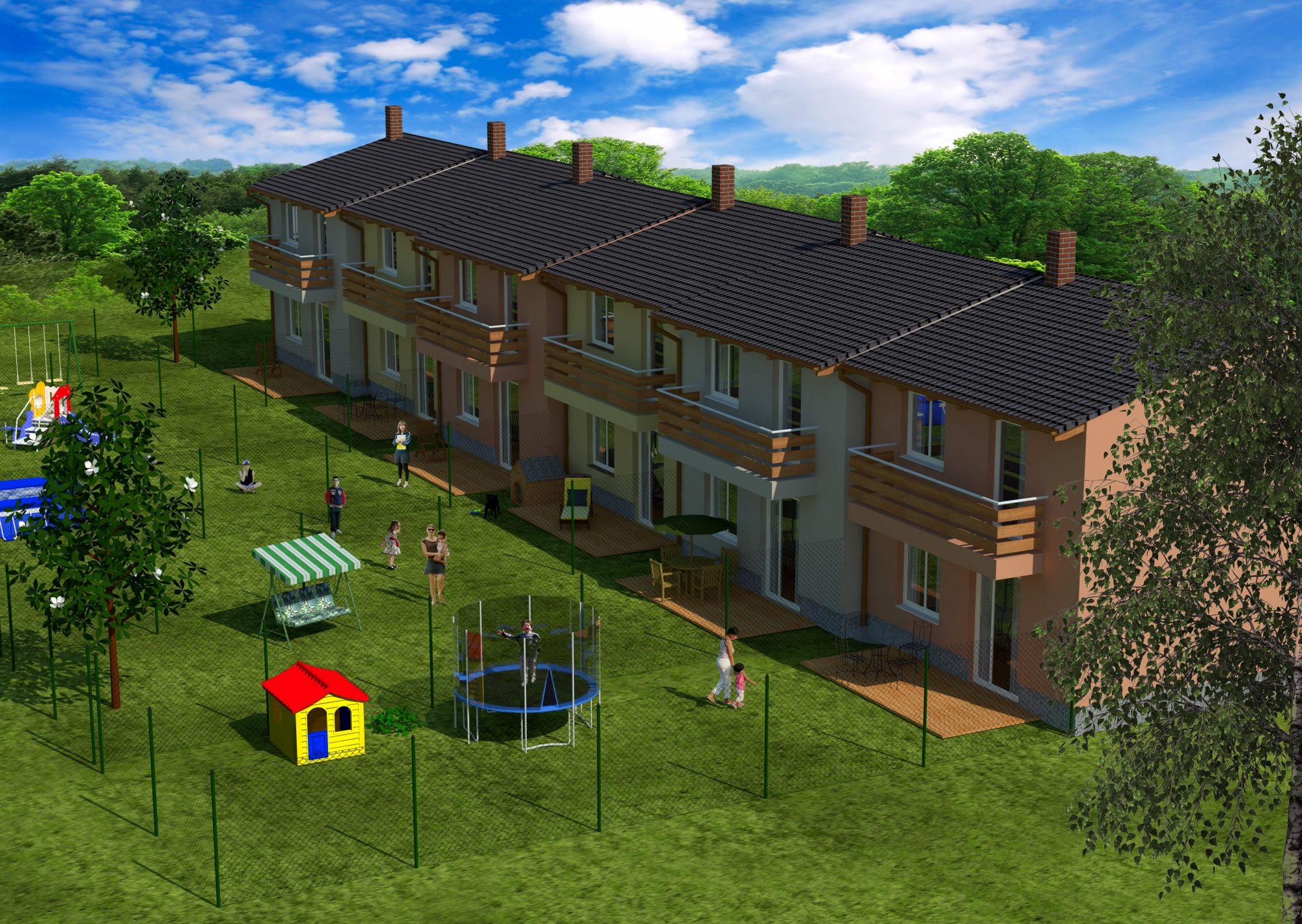 Vizualizace řadových rodinných domů pro developerský projekt